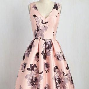 Modcloth Chi Chi London Black Floral Pink Dress